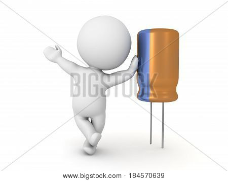 3D Character leaning on a capacitor. Image can be used in any technology related presentation.