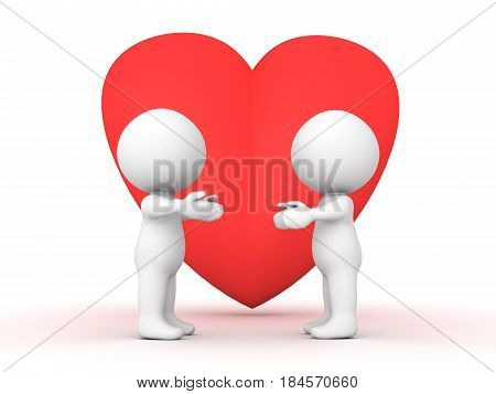 3D Characters holding their hands out to each other with giant heart behind them. Image can depict any situation where affection is given.