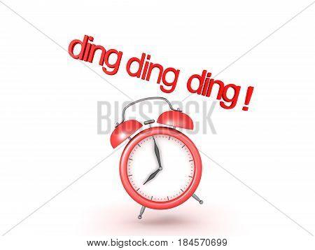 3D illustration of classic alarm clock ringing. The clock is showing eight in the morning.