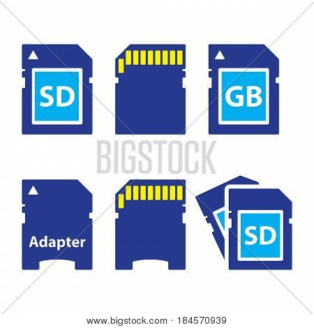 SD, memory card, adapter icons set - technology concept