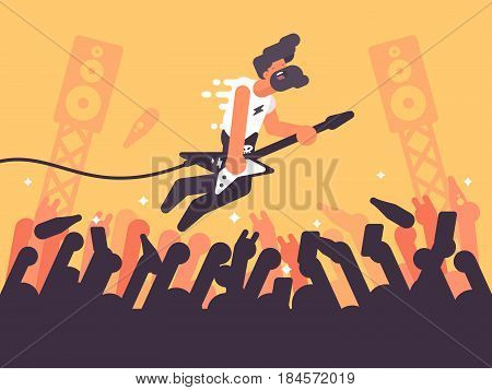 Rock guitarist plays at concert. Music performer on stage. Vector illustration