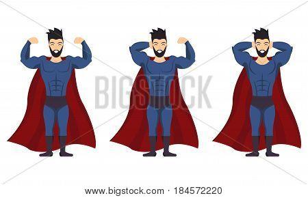 Superhero posing icon set in cartoon colored style on white background