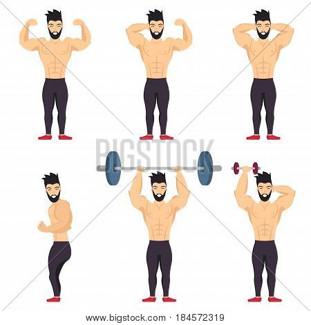 Positive bodybuilder posing icon set in cartoon colored style on white background. Body positive people.