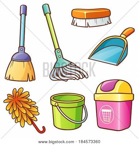 Vector illustration of Cartoon Cleaning supplier set