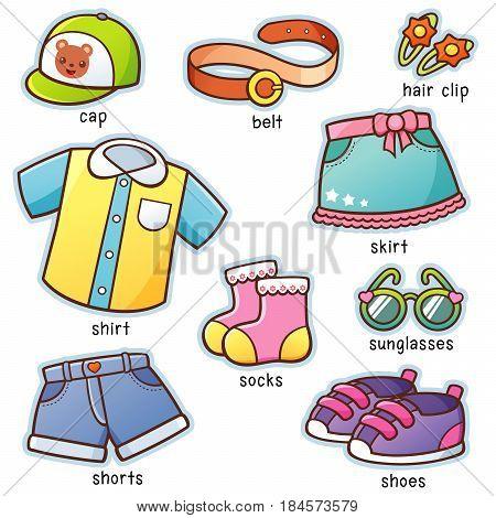Vector illustration of Cartoon Clothes set vocabulary