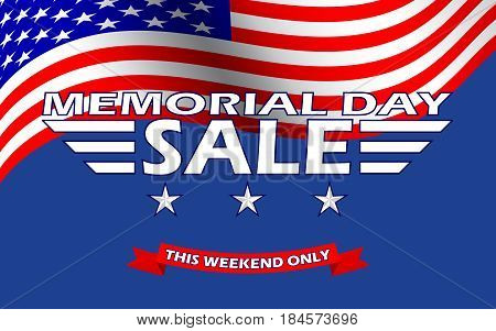 Memorial Day Sale banner template design. Memorial Day Sale background. Vector illustration.