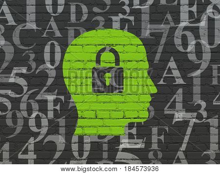 Information concept: Painted green Head With Padlock icon on Black Brick wall background with  Hexadecimal Code
