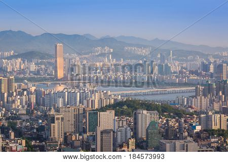 Seoul City In Daylight Wiht Han River, Seoul, South Korea.