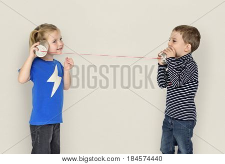 Little Kids Using String Phone Adorable Cute