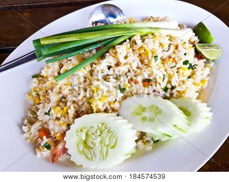 Shrimp Fried Rice in white plate ,Thailand