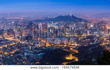Seoul City Skyline And N Seoul Tower In Seoul, South Korea