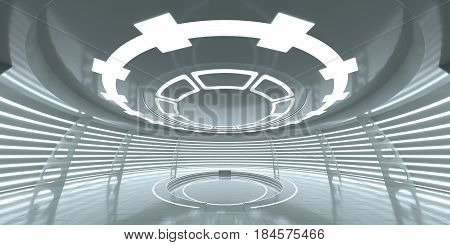 Abstract empty glowing futuristic space station. An empty space for your content. 3D Rendering