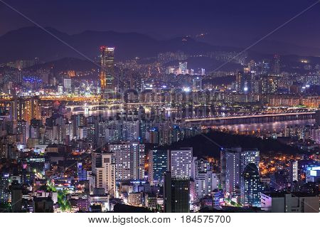 Cityscape In Korea, Skyscraper And Han River, Seoul, South Korea.