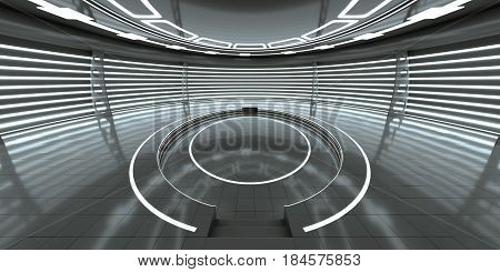 Futuristic interior with empty glowing podium for your content. 3d rendering