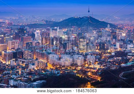 Seoul City In Night View And N Seoul Tower In Seoul, South Korea.