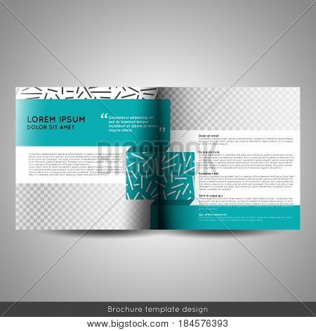 Scandinavian style business or educational template bi fold square brochure design layout flyer or booklet. Stock vector