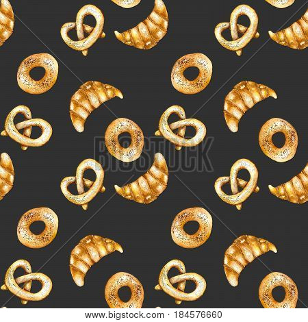 Seamless pattern with sweet bakery products (bagel, loaf) hand drawn in watercolor on a dark background
