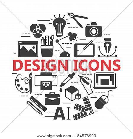 Graphic design icons, vector symbols. Printing and graphic design icons.
