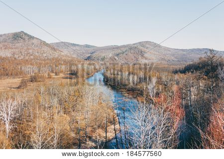 A Moutain Landscape With A River ,lake In Forest In Inner Mongolia Hulunbeier