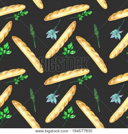 Seamless pattern with French baguettes and spicy herbs hand drawn in watercolor on a dark background