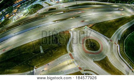 aerial over highway interchange near green bay wisconsin