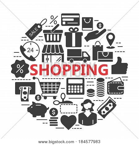Silhouette web icons set - E-commerce, shopping. Universal internet icon to use in web and mobile UI, set of basic UI internet elements.