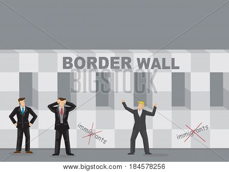 Enthusiastic blond businessman standing in front of barrier structure with title Border Wall and anti immigrant symbols. Creative vector illustration on border wall and business.
