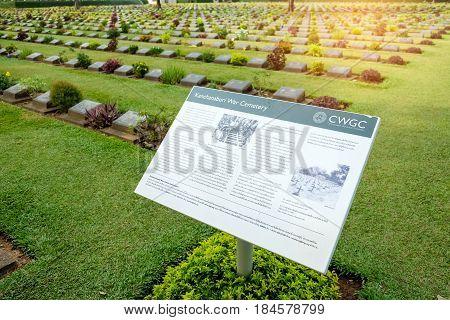 KANCHANABURI THAILAND - May 2017: Military cemetery records of Kanchanaburi War Cemetery in Thailand.