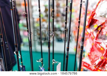 Fishing rods and fishing gear in a hunting and fishing store