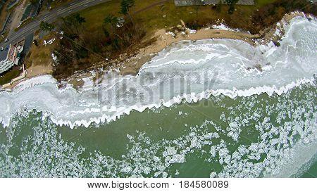aerial view of lake michigan at acme roadside park