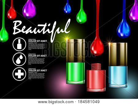 Colorful nail lacquer ads nail polish splatter on white background 3d illustration vogue ads for design