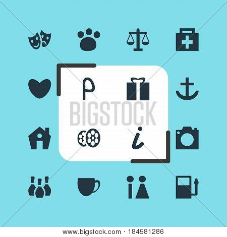 Vector Illustration Of 16 Location Icons. Editable Pack Of Coffee Shop, Skittles, Map Information And Other Elements.
