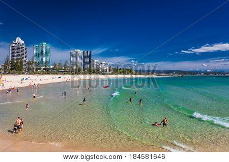 COOLANGATTA, AUS - MAY 01 2017, Coolangatta beach and Rainbow Bay, Gold Coast, Queensland, Australia
