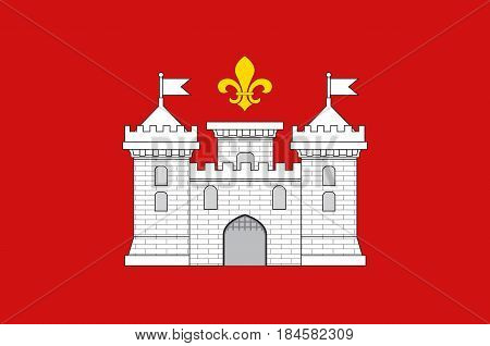 Flag of Perigueux is a commune in the Dordogne department in Nouvelle-Aquitaine in southwestern France. Vector illustration