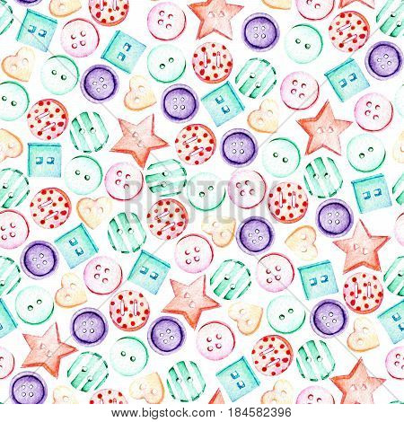 Seamless pattern with watercolor colored buttons, hand drawn isolated on a white background