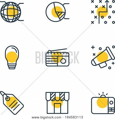 Vector Illustration Of 9 Advertising Icons. Editable Pack Of Lamp, Fm Broadcasting, Discount Label And Other Elements.