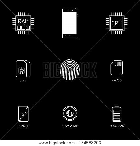 Smartphone Specification Flat Line Icons. Gadget Description. Icon Set Vector