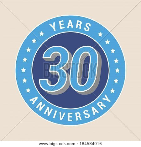 30 years anniversary vector icon emblem. Design element with blue color medal as a banner for 30th anniversary