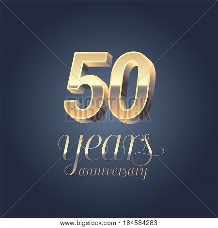 50th anniversary vector icon logo. Gold color graphic design element for 50 years anniversary birthday banner