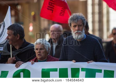 PORTO, PORTUGAL - MAY 1, 2017: During celebration of May Day in the city centre. General Confederation of Portuguese workers, traditionally associated with the Communist party, has 800.000 members.