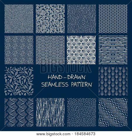 Set Of Hand-drawn Seamless Patterns.