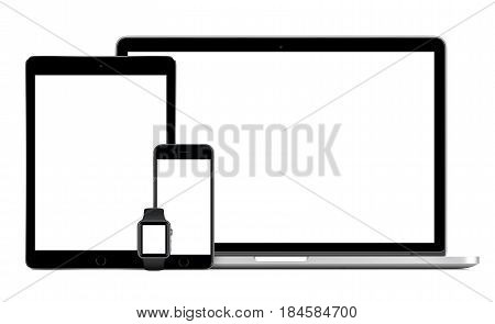 Varna Bulgaria - March 10 2016: Apple MacBook Pro with Space Gray iPad Pro iPhone 6S and Apple Watch mock-up. Isolated on white background. Apple gadgets set for responsive design presentation.