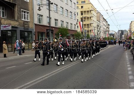Gdynia, Poland - May 03, 2017: Parade of the Navy Orchestra in the middle of the street on the occasion of May 03