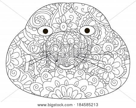 Vector coloring for adult head talpidae illustration. Anti-stress coloring for adult rodent. Zentangle style excavator. Black and white lines. Lace pattern