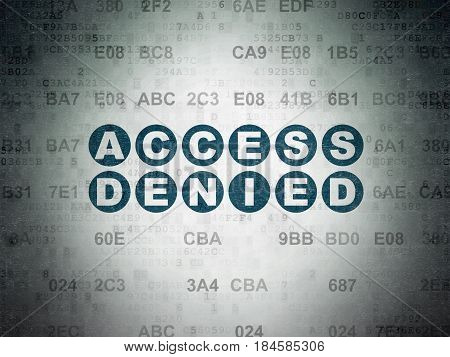 Protection concept: Painted blue text Access Denied on Digital Data Paper background with Hexadecimal Code