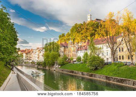 Medieval houses in Ljubljana old city centre on Ljublanica's bank. Ljubljana, Slovenia, Europe.
