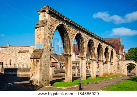 Gloucester United Kingdom - June 8 2013: View of Remains of infirmary arches at Gloucester Cathedral