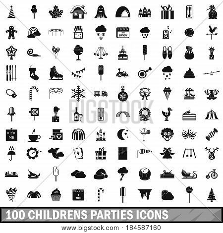 100 childrens parties icons set in simple style for any design vector illustration