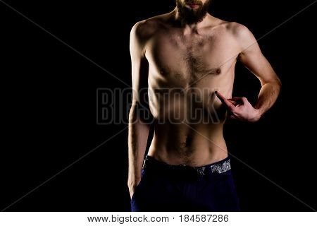 Man Or Bearded Hipster With Slim Body, With Anorexia