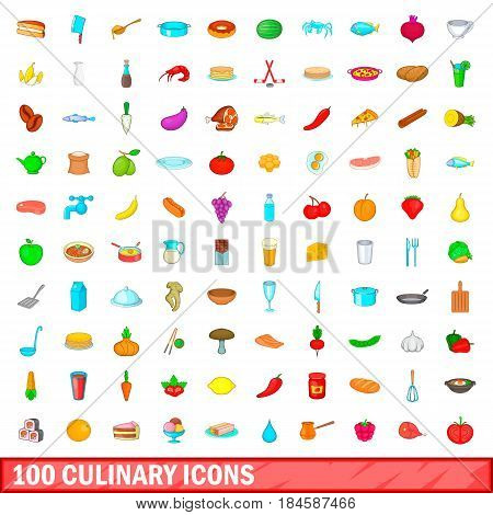 100 culinary icons set in cartoon style for any design vector illustration